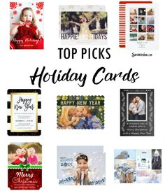 Top Picks Unique Trendy Holiday Cards for Christmas and New Years. A collection of fun and festive designs to personalize for your holiday seasonal greeting