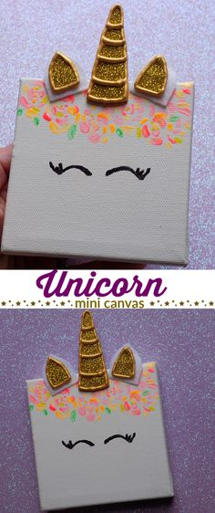 Kids rooms diy - Unicorn Mini Canvas best Unicorn craft for kids + great for a kids party! Perfect unicorn craft for kids, teens, and tweens Easy DIY unicorn room décor Arts And Crafts For Teens, Easy Arts And Crafts, Crafts For Girls, Arts And Crafts Projects, Diy For Teens, Diy For Kids, Kids Crafts, Décor Crafts, Diy Room Decor For Girls