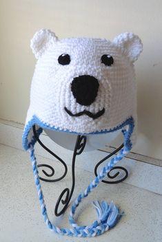 079d22d0acf Polar Bear Crochet Hat READY TO SHIP by LittleMonkeysCrochet ...