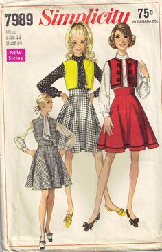 Vintage 1960s Simplicity 7989 Bolero Vest. Use this sewing pattern to sew your Fairy Kei outfit