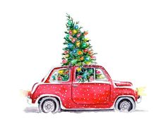 Christmas illustration by Tracy Hetzel (via Long Blue Straw). Christmas Car, Merry Christmas To You, Christmas Images, Vintage Christmas, Christmas Holidays, Christmas Crafts, Christmas Decorations, Christmas Sketch, Merry Christmas Drawing