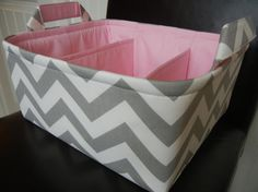 """Diaper Caddy(choose BASKET &  LINING color) 12""""x10""""x6"""" Two dividers-Fabric Storage Bin basket-Chevron-""""Grey/White-Zigzag on Etsy, $57.13 AUD"""