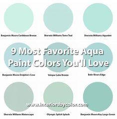 9 Most Favorite Aqua Paint Colors You'll Love http://www.interiorsbycolor.com/