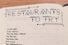 Restaurants to try bullet journal page