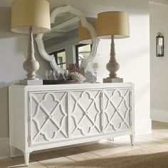 Ivory Key Hawkins Point Buffet with Woven Raffia Doors by Tommy Bahama Home - Baer's Furniture - Buffet Miami, Ft. Lauderdale, Orlando, Sarasota, Naples, Ft. Myers, Florida