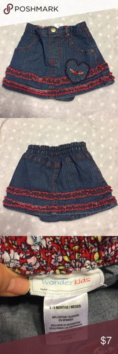 💕just reduced 💕Baby girl Jean skirt Red ruffles and hearts all over. wonder kids Bottoms Skorts