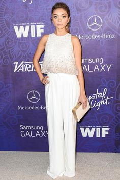 Sarah Hyland in Georges Hobeika Couture at the 2014 Entertainment Weekly Pre-Emmy Party Emmys Best Dressed, Mercedes Benz, Night Outfits, Fashion Outfits, Couture Looks, The Emmys, Wide Pants, Back To School Outfits, Party Looks