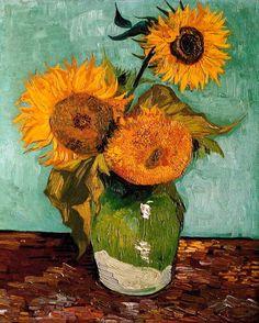 Vincent Van Gogh -- Arles - Tournesols  Kenmerken: - ongemengde stippen naast elkaar gezet, van ver af gezien mengen de stippen zichzelf. - kleurverdeling afhankelijk van praktijk schilderen, berustte vooral op resultaten wetenschappelijk onderzoek van kleurenleer en werking van onze ogen. - werkwijze geen snelle impressies, meer aandacht voor vorm.