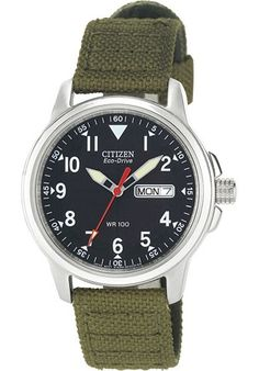 men watches | Online store for Citizen Men's BM8180-03E Eco-Drive Stainless Steel Watch with Green Canvas Band