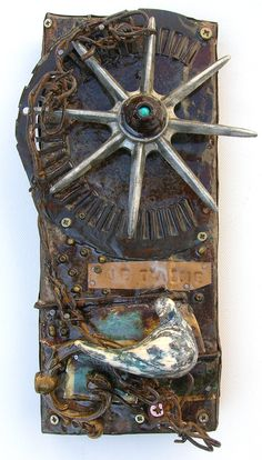 """Je t'aime""  Art assemblage from recuperated found metal objects"