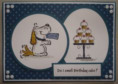 B099 Hand made birthday card using Penny Black more please stamp and SU Crazy for cupcakes stamp