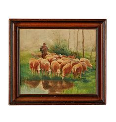 Framed Oil Painting of Shepherd w/ Flock Circa Antique Hardware, Antique Lighting, Back Doors, Home Improvement, Antiques, Pictures, Painting, 1930s, Oil