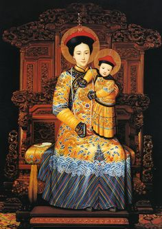Our Lady of China, pray for us. Pray for the Church in China. In Chinese culture, yellow is an imperial color, at one time worn only by emperors and empresses. Our Lady is Queen of Heaven, and her son is Christ the King. Blessed Mother Mary, Divine Mother, Blessed Virgin Mary, Catholic Art, Religious Art, Images Of Mary, Queen Of Heaven, Christ The King, Mama Mary