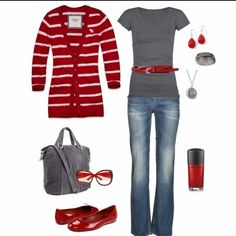 Red & gray outfit..