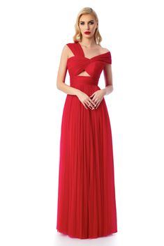 Ana Radu red luxurious dress with inside lining from tulle on the shoulders Product Label, Nasa, Corset, Tulle, Satin, Formal Dresses, Shoulder, Fabric, Red