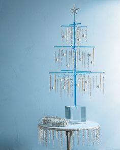 modern tinsel christmas tree