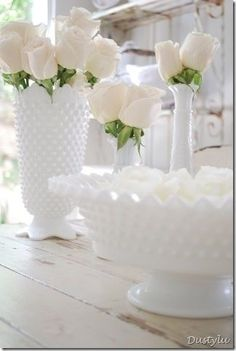Hobnail white milk glass with beautiful white roses- lovely