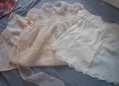 2 Baby Dresses,1 Slip, Tucks, Lace & Embroidery, Baby or Doll  40's or 50's