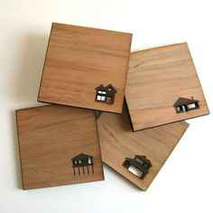 Simple square coaster- use a wood burner with custom logo