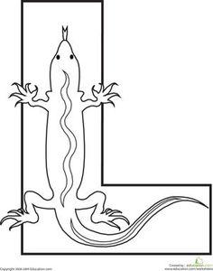 Alphabet L Shape Lizard Image