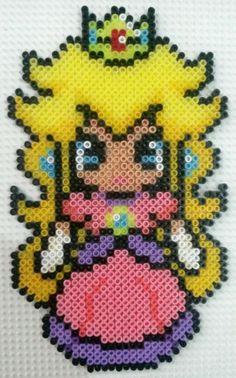 Princess Peach perler beads by CielHargreaves on deviantART