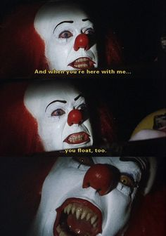 "lucyphermann: "" Pennywise the Dancing Clown. The lost twin of Ronald McDonald. Equally scary, or dare I say, even more? ""It"" apparently originated in a void containing and surrounding the universe, a. Horror Movie Quotes, Funny Horror, Horror Movie Characters, Horror Icons, Horror Films, Horror Art, Paranormal, Evil Clowns, Funny Clowns"