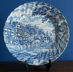 A vintage blue and white Royal Mail Plate by Myott