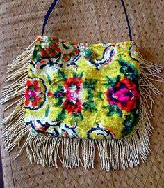 Pretty vintage Ukraine floral velvet fringe boho bag