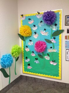 Spring bulletin board by yolanda board decoration, school decorations, spri Class Bulletin Boards, Spring Bulletin Boards, Preschool Bulletin Boards, Classroom Displays, Classroom Decor, Butterfly Bulletin Board, Spring School, Sunday School, Board Decoration