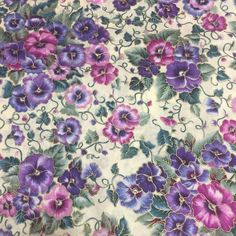 Purple Pink Pansy Cotton Fabric Quilt Sew Crafts OOP Remnant 36 X19.5 #Unbranded