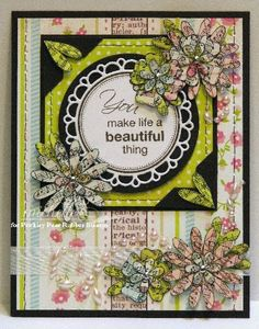 Prickley Pear Rubber Stamps: Flowers Clearly Beautiful Stamp Set, Flowers Die, Scalloped Circle Die, Dragonflies Clearly Beautiful Stamp Set
