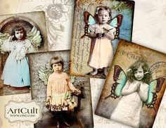 SWEET ANGELS - Four Designed Images - Digital Collage Sheet - Printable Download - Greeting cards