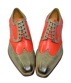 Jose Real Florence Taupe Grey / Coral Pink Italian Hand Painted Wingtip Shoes With Contrast Perforation R2318 - $299.90 :: Upscale Menswear - UpscaleMenswear.com