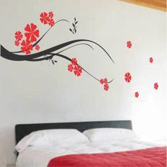 adesivo de parede de flores para quarto de casal
