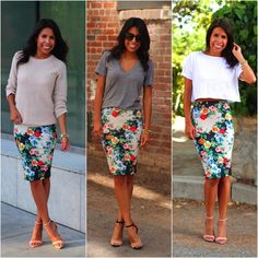 3 adorable ways to dress up or dress down a pencil skirt. A Cassie would be perf… 3 adorable ways to dress up or dress down a pencil skirt. A Cassie would be perfect for this. Pencil Skirt Outfits, Floral Pencil Skirt, Pencil Skirts, Modest Fashion, Skirt Fashion, Fashion Outfits, Spring Summer Fashion, Spring Outfits, Mode Simple