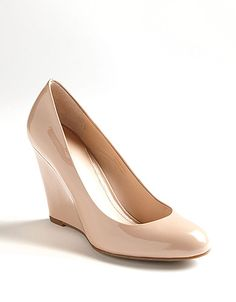 Nude wedges, a closet essential!  Nude wedge heels:: neutrals:: vintage style:: spring style