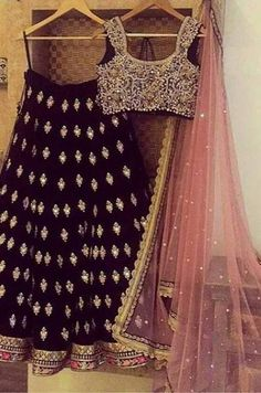 The Stylish And Elegant Lehenga Choli In Black Colour Looks Stunning And Gorgeous With Trendy And Fashionable Embroidery . The Silk Fabric Party Wear Lehenga Choli Looks Extremely Attractive And Can A. Black Lehenga, Indian Lehenga, Silk Lehenga, Anarkali, Patiala Salwar, Lengha Saree, Floral Lehenga, Indian Wedding Outfits, Bridal Outfits