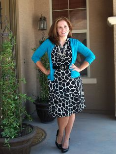 Spring/Summer/Fall work look: Giraffe print dress (Merona 2010) patent belt, blue cardigan, multi strand necklace, patent wedges