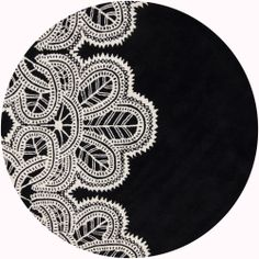 Hand-Tufted Mandara Abstract Black Wool Rug (7'9 Round) | Overstock.com Shopping - The Best Deals on Round/Oval/Square