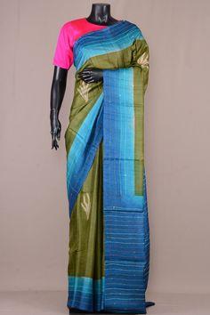 Sap Green Tussar Silk Printed Saree-VE3550