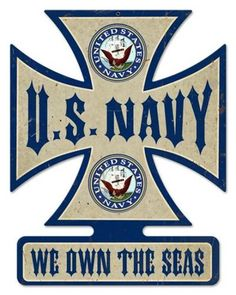 US Navy Iron Cross Tin Sign, nostalgic retro vintage metal reproduction, Armed Forces Military Navy Day, Go Navy, Navy Marine, Navy Military, Military Signs, Military Quotes, Military Humor, Badges, Us Navy Submarines