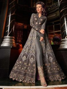 Grey All With Golden Embroidered Lehenga/Pant Suit features embroidery work with minimalist modern art detail annotated beautifully with the combination of resham zari, thread and stone work on its flared anarkali net top Indian Gowns Dresses, Indian Fashion Dresses, Indian Designer Outfits, Pakistani Dresses, Indian Outfits, Bridal Dresses, Bridal Anarkali Suits, Eid Dresses, Trajes Anarkali