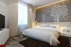 Fabulous Artistic Small Bedroom Interior Decoration Inspiration with White TV Stand, Picturesque Tree Stencil Wall Art, Soft Brown Rug and H...