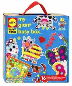 Alex Toys My Giant Busy Box by Alex. $27.42. Kids can create 16 different beautiful projects with this kit. This kit has great art activities for younger children. This kit is a great activity for one child or a small group. Also includes stick tissue art pictures, tons of tissue paper, glue, easy instructions. This kit includes 2 plastic frames, 4 animal punch outs, 10 colors of dough, 2 peel. Art activities encourage a child's imagination and learning development....