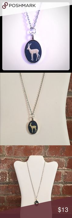 """Deer cameo pendant necklace Silver alloy (not sterling) deer cameo pendant necklace. Blue resin charm set in silver plated pendant. Chain is 18"""" charm is 1"""" Jewelry Necklaces"""
