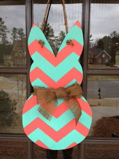 Easter Bunny Coral & Aqua Chevron Door Hanger by KnockinOnWood