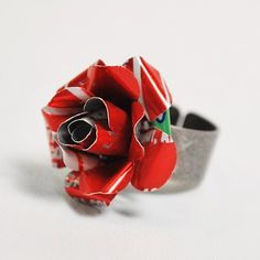 Recycled Coke Can Rose Ring ($15): Enjoy Coke in a new way with this handmade #recycled Coke can rose shaped ring. http://me.lt/4l0Dk