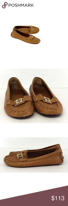 """Tory Burch- Tan Kendrick Leather Driving Loafers Sz 8.5 This tan leather loafer features a gold T Tory Burch monogram on the toe. These versatile driving loafers will transition between seasons with ease. Size 8.5 Made in Brazil Tumbled leather upper Leather lining Gold T logo on toe Rubber peg soles Very light outsole wear Worn leather on back Outsole length 10.5"""" Bohemian, preppy, hippy, young, & luxe are all words to describethis designer's style. Tory Burch has a signature style but also…"""