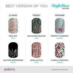 Wow look at the new Sister Style Boxes for May. Remember you can mix and match these styles or go with what Jamberry matches !! The style box has over $30 of products for just $25 and you can also add additional styles in the boxes for 1 time shipping.