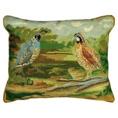 THE WELL APPOINTED HOUSE - Quails in Woods Needlepoint Pillow - Pillows - Decorative